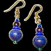 GORGEOUS Aventurine Venetian Art Glass Earrings, RARE 1940's Venetian Aventurina Glass Beads