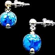 STUNNING Venetian Millefiori Art Glass Earrings, Turquoise & White Murano Glass Beads
