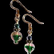 FABULOUS Czech Art Glass Earrings, RARE 1960's Czech Glass Beads