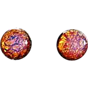 DAZZLING Gold Foil Czech Art Glass Earrings, RARE 1940's Amber Czech 24k Gold Foil Beads, Pierced Earrings, Cabochon Beads
