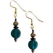 STUNNING Teal Czech Art Glass Earrings, RARE 1940's Czech Satin Glass Beads
