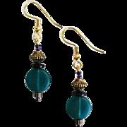 STUNNING Teal Czech Art Glass Earrings, RARE 1940's Czech Satin Glass Beads