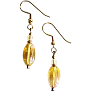 GORGEOUS Czech Art Glass Earrings, Rare 1960's Iridescent Golden Yellow Czech Beads