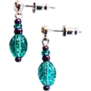 STUNNING Teal Czech Art Glass Earrings, RARE 1940's Czech Glass Beads