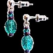 STUNNING Teal Czech Art Glass Earrings, RARE 1940's Czech Glass Beads