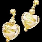 STUNNING Venetian Art Glass Earrings, White Swirl 24K Gold Foil Murano Glass Hearts