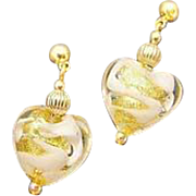 STUNNING Venetian Art Glass Earrings, White Swirl 24K Gold Foil Murano Glass Hearts