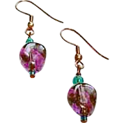 MOD Purple German Art Glass Earrings, RARE 1960's German Glass Beads