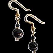 STUNNING Aventurina Venetian Art Glass Earrings, Black Aventurine Murano Glass Beads