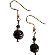 STUNNING Aventurina Venetian Art Glass Earrings, Black Aventurine Murano Glass Beads