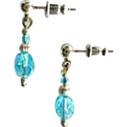 STUNNING Czech Art Glass Beads, RARE 1950's Faceted Czech Glass Beads, Aquamarine Aurora Borealis Glass Beads, AB Beads