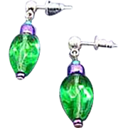 MOD Green Czech Art Glass Earrings, RARE 1960's Iridescent Czech Glass Beads