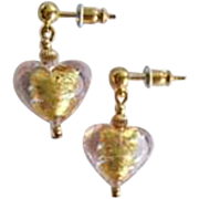 STUNNING Venetian Art Glass Earrings, Pink 24K Gold Foil Murano Glass Hearts