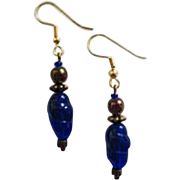 MOD Czech Art Glass Earrings, RARE 1960's Czech Glass Beads, Brilliant Cobalt Blue Czech Beads