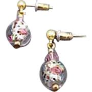 STUNNING Czech Art Glass Earrings, Crystal Czech Silver Foil Glass Beads, Roses