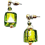 DAZZLING Venetian Art Glass Earrings, Peridot Green 24K Gold Foil Murano Glass Beads, Cubes
