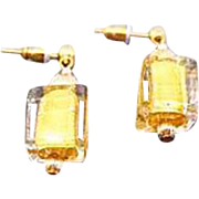 STUNNING Venetian Art Glass Earrings, 24K Gold Foil Murano Glass Beads, Cubes