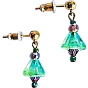 STUNNING German Art Glass Earrings, RARE 1940's German Glass Beads