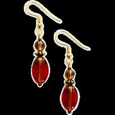 STUNNING Czech Art Glass Earrings, RARE 1940's Czech Glass Beads