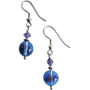STUNNING Czech Art Glass Earrings, RARE 1940's Czech Glass Beads, Blue and Amethyst