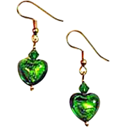 DAZZLING Venetian Art Glass Earrings, Green 24K Gold Foil Murano Glass Hearts