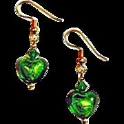 DAZZLING Venetian Art Glass Earrings, Green 24K Gold Foil Murano Glass Hearts