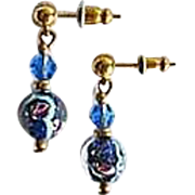 GORGEOUS Blue Venetian Art Glass Earrings, SCARCE Vintage Aventurine Murano Glass Beads
