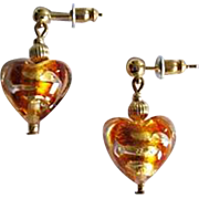 STUNNING Venetian Art Glass Earrings, Topaz Swirl 24K Gold Foil Murano Glass Hearts