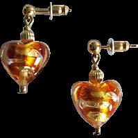 STUNNING Venetian Art Glass Earrings, Topaz Swirl 24K Gold Foil Murano Glass Hearts