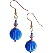 STUNNING Czech Art Glass Earrings, RARE 1940's Czech Glass Beads, Periwinkle Blue