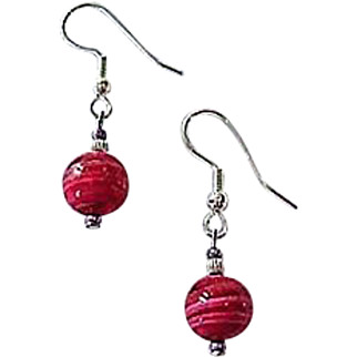 GORGEOUS Venetian Art Glass Earrings, Rare 1940's Venetian Glass Beads, Magenta Pink