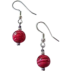 GORGEOUS Venetian Art Glass Earrings, Rare 1940's Venetian Glass Beads, Magenta Pink