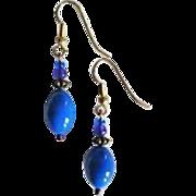 GORGEOUS Czech Art Glass Earrings, RARE 1940's Czech Glass Beads, Periwinkle Blue