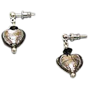 FABULOUS Venetian Art Glass Earrings, Silver Foil Hearts, Charcoal Gray Murano Glass Heart Beads