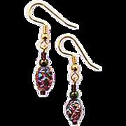 DAZZLING Czech Art Glass Earrings, RARE 1960's Metallic Czech Glass Beads