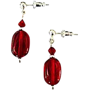 FABULOUS Red Czech Art Glass Earrings, RARE 1940's Czech Glass Beads