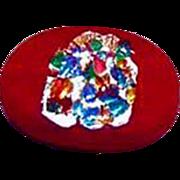 DAZZLING Red Czech Art Glass Pin, Silver Foil, RARE 1950's Czech Glass Bead