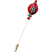 DAZZLING Red Czech Art Glass Stick Pin, RARE 1970's Czech Aventurine Glass Bead, Flower Decoration, Hat Pin