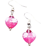 STUNNING Venetian Millefiori Art Glass Earrings, Hearts, Pink & White Murano Glass Beads, Venetian Millefiori Beads