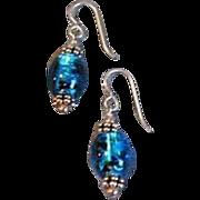 DAZZLING Turquoise Czech Art Glass Earrings, Rare 1970's Silver Foil Glass Beads
