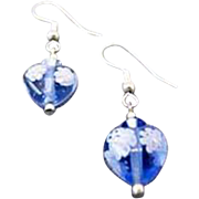 STUNNING Venetian Millefiori Art Glass Earrings, Hearts, Sapphire Murano Glass Beads