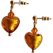 DAZZLING Venetian Art Glass Earrings, 24K Gold Foil Murano Glass Hearts