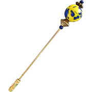 GORGEOUS Venetian Art Glass Stick Pin, RARE 1940's Venetian Glass Bead, Brilliant Yellow and Cobalt Blue, Hat Pin