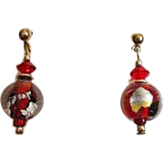 DAZZLING Red Venetian Art Glass Earrings, RARE Vintage Silver Foil Murano Glass Beads with 24K Gold Foil