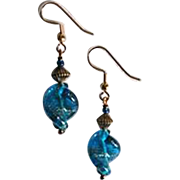 DAZZLING Aventurine Venetian Art Glass Earrings, Turquoise Murano Glass Beads
