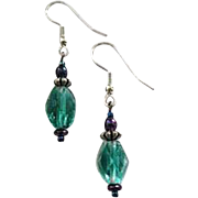 STUNNING Green Austrian Crystal Glass Earrings, RARE 1940's Austrian Crystal Beads