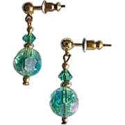 STUNNING Green Austrian Crystal Glass Earrings, RARE 1950's Austrian Crystal Beads