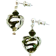DAZZLING Venetian Art Glass Earrings, Black Swirl Silver Foil Murano Glass Heart Beads