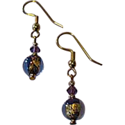 FABULOUS Purple Venetian Art Glass Earrings, 24k Gold Foil Lampwork Murano Glass Beads