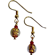 GORGEOUS Red Venetian Art Glass Earrings, 24k Gold Foil Lampwork Murano Glass Beads